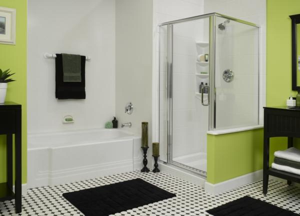 duschkabine rechteckig modern eingebaute dusche neongrüne wände