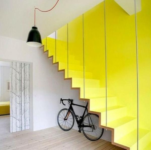 fahrrad ständer kreative wohnideen treppenhaus ausnutzen