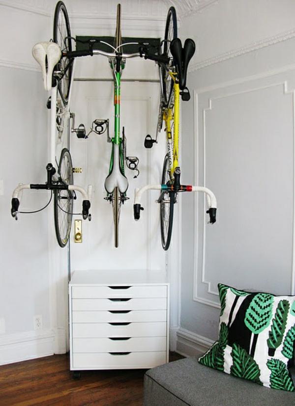 fahrrad ständer zuhause dekorieren kreative wohnideen
