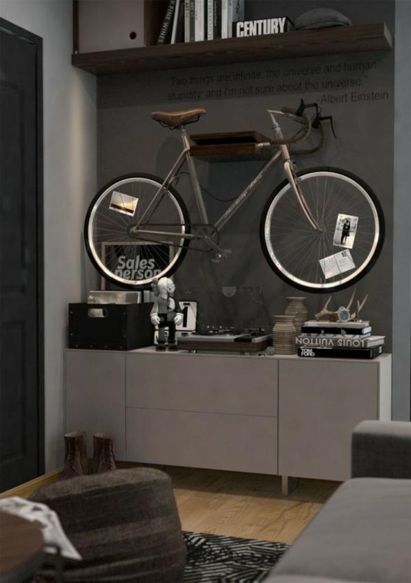 fahrrad ständer wohnzimmer aufhängen wand gestalten