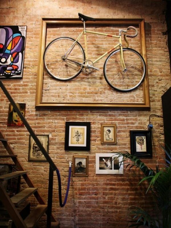 fahrrad wandhalterung einzigartige wanddeko treppe