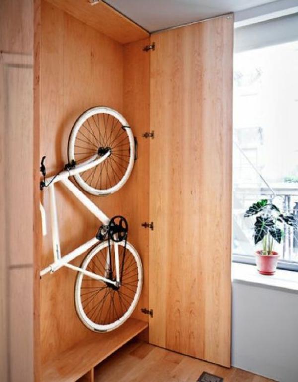 fahrrad wandhalterung ideen schrank originell
