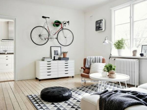 fahrrad wandhalterung kreative wohnideen wohnzimmer gestaltung