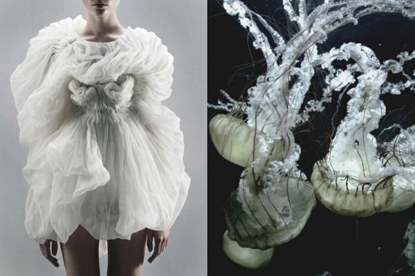 fine art fotografie weißes kleid quallen