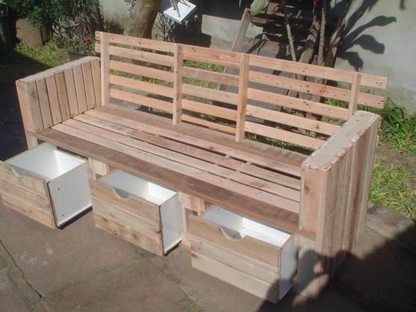 gartenmöbel aus paletten holzbank mit stauraum bauen