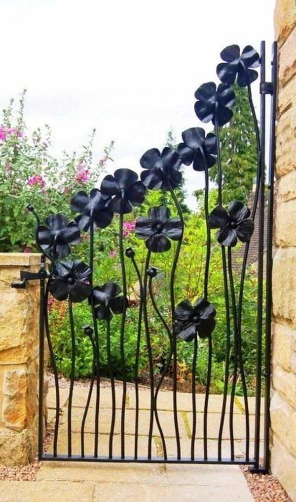 gartentür herrliches design elegant florale motive schwarz