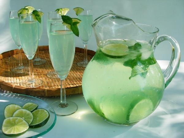 gesundes wasser mit limetten und minze erfrischende gertänke