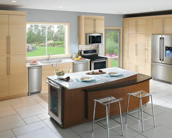 granitfliesen verlegen bodenbelag ideen holzküche kücheninsel