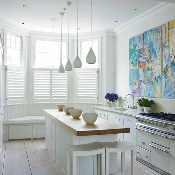 hängelampen küche elegant weiß hölzerne arbeitsfläche