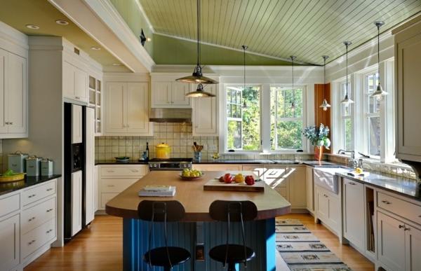 hängelampen kücheninsel küche teppichläufer einbauleuchten