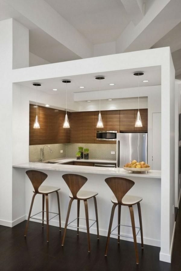 hängelampen weiße klücheninsel küche einrichten