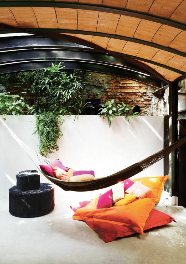 hängematte kaufen überdachte terrasse sitzkissen