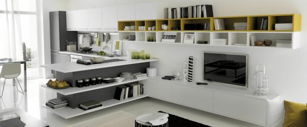 moderne hängeregale - schritte zur perfekten ordnung in der küche - Offene Kuche Wohnzimmer Grundriss
