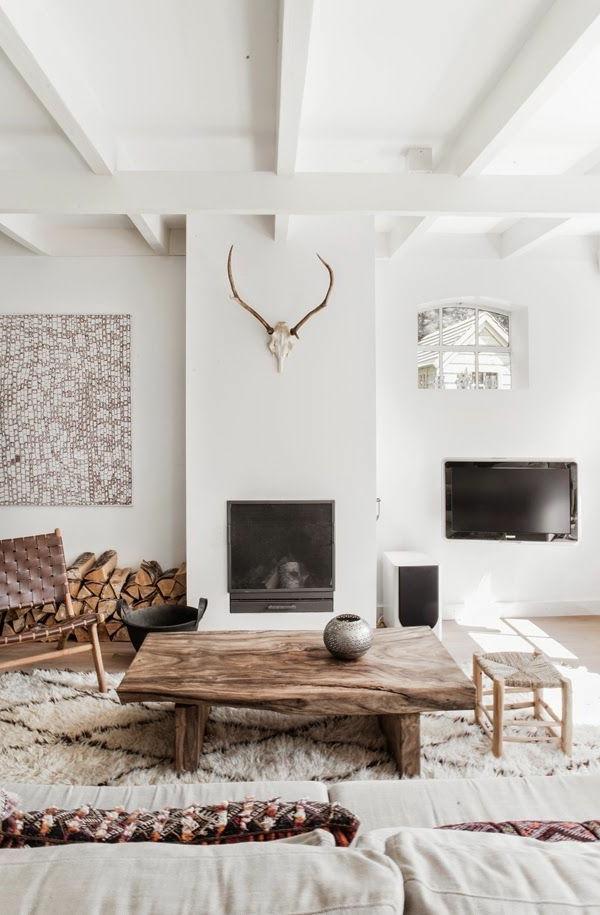 holländische möbel rustikaler couchtisch kamin