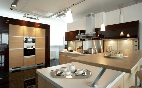 indirekte beleuchtung küche LED licht hängelampen