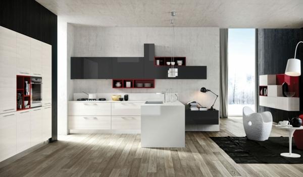 küche einrichten holzfliesen weiße einrichtung