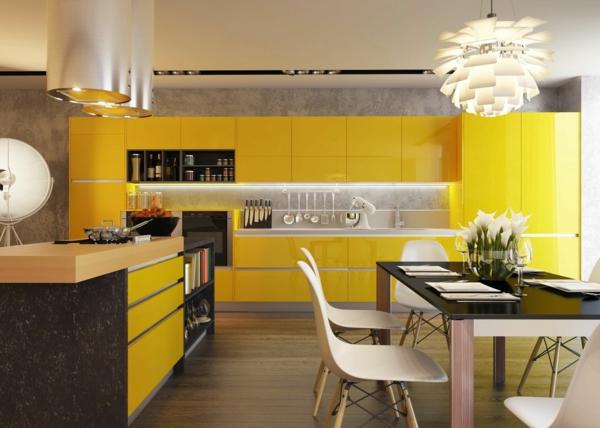 küche einrichten modern frisch gelb