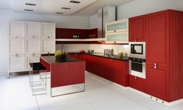 küche einrichten rote küchenschränke beige wandfarbe