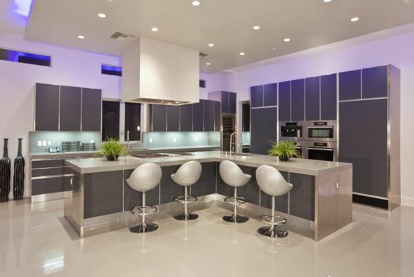 küche einrichten schöne beleuchtung kücheninsel deko