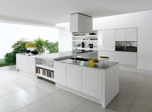küche einrichten weiß geräumig panoramafenster