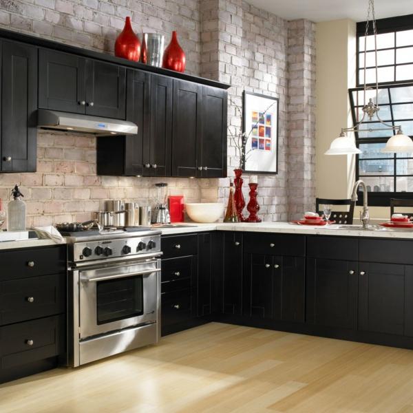 küche einrichten ziegelwand dunkle küchenschränke