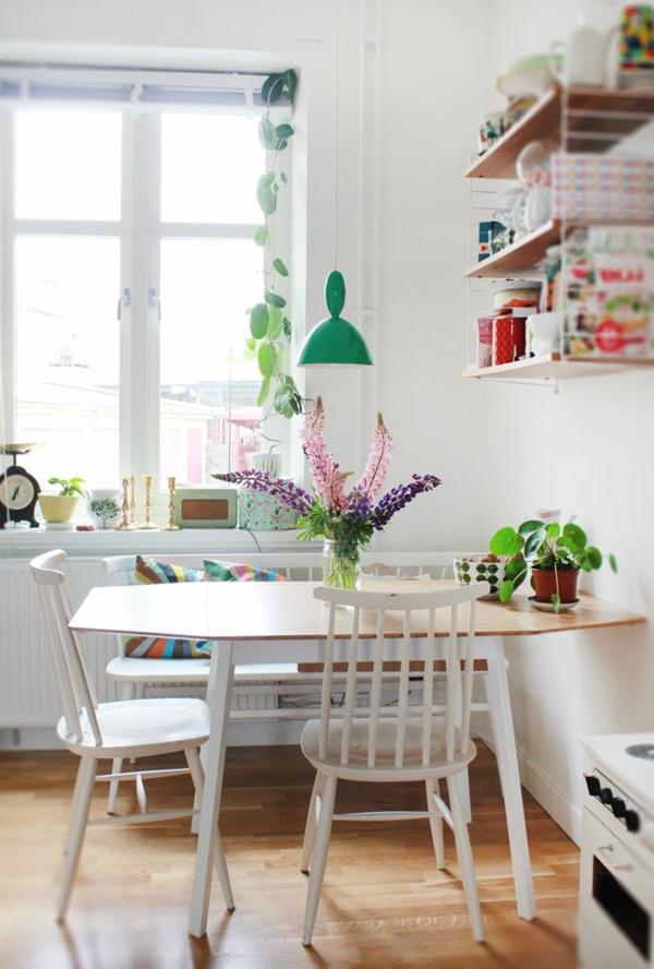 küche esstisch wandregale pflanzen