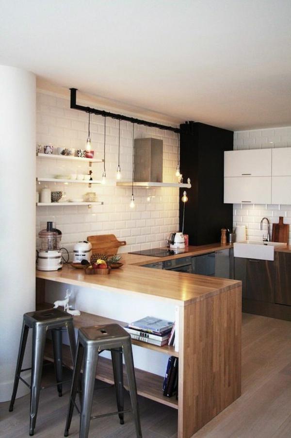 küche moderne regale pendelleuchten barhocker