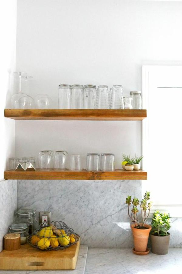 küche regale holz design gläser pflanzen