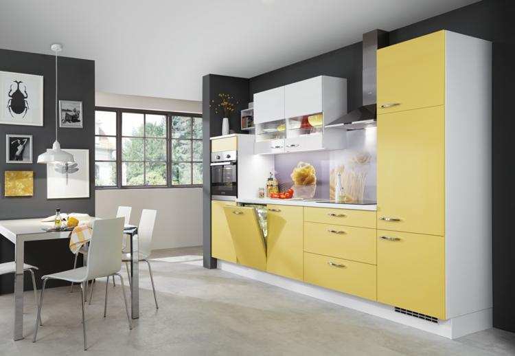 küchendekoration ideen küche farbgestaltung akzentfarbe gelb