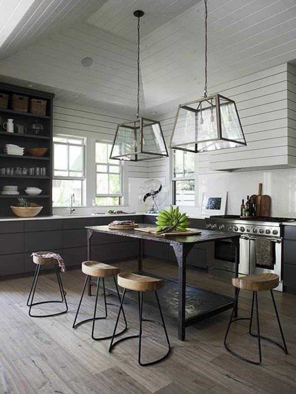 küchendesign ideen beleuchtung pendelleuchten kücheninsel holzboden