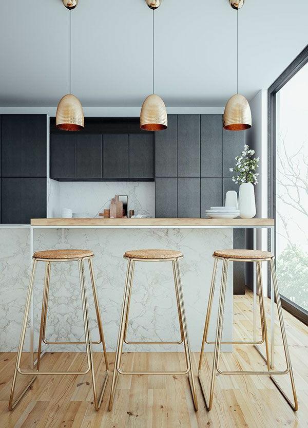 küchendesign kücheninsel barhocker pendelleuchten goldene farbe