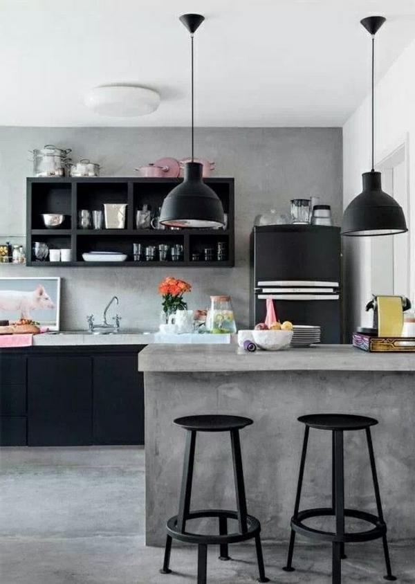küchendesign kücheninsel pendellampen schwarz betonoptik