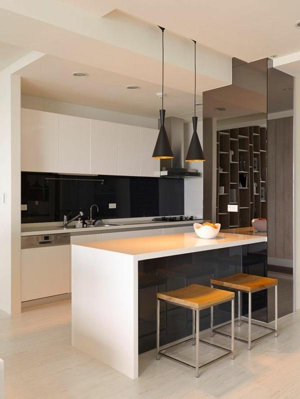 küchendesign minimalistisch kücheninsel pendellampen schwarz