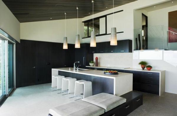 kücheneinrichtung kücheninsel hängende lampen