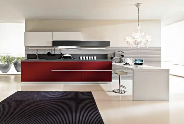 kücheneinrichtung modern geräumig teppich rote akzente