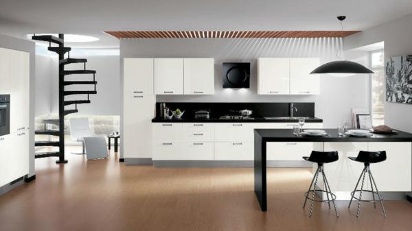 kücheneinrichtung weiß schwrz moderner esstisch barhocker