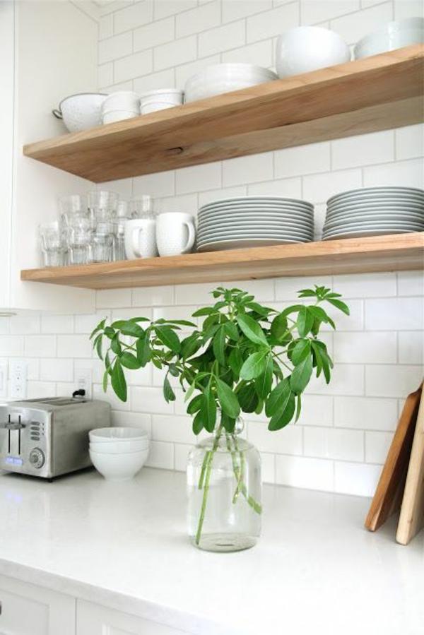 küchenregale design weiße wandfliesen pflanze