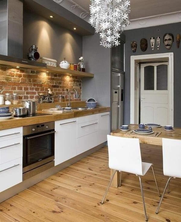 küchenregale design ziegelwand holzboden esstisch