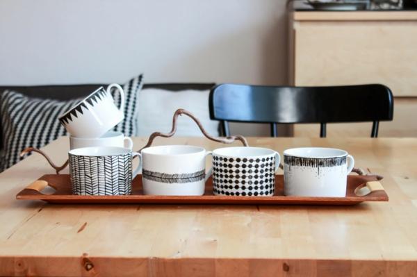 kaffeetasse selber bemalen grafische muster