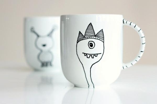 kaffeetasse selber bemalen lustige gestelten