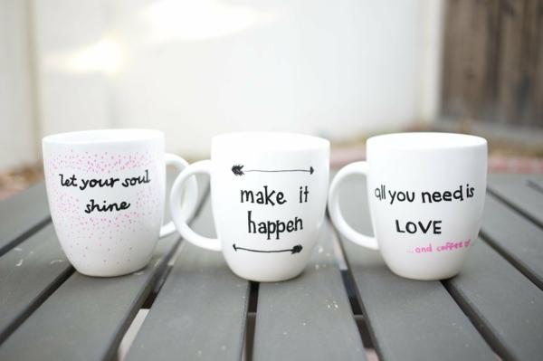 kaffeetasse selber beschriften tolle sprüche