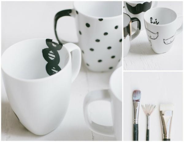 kaffeetasse selber gestalten farben pinsel