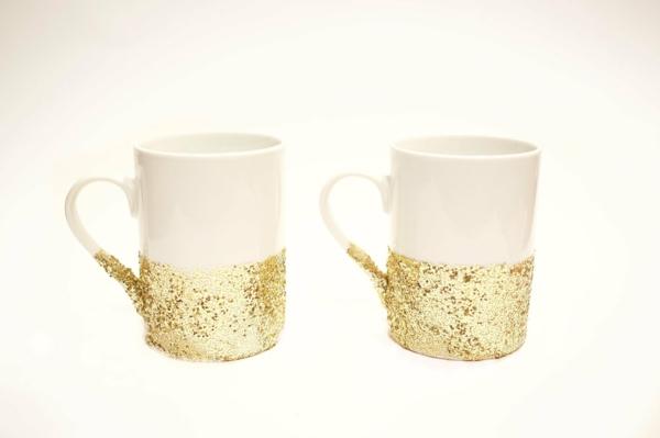 kaffeetasse selber gestalten gold glitzer