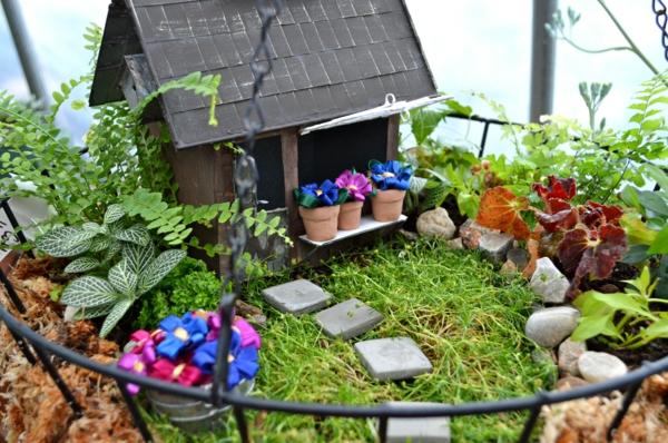 kleine gärten anlegen hängend häuschen