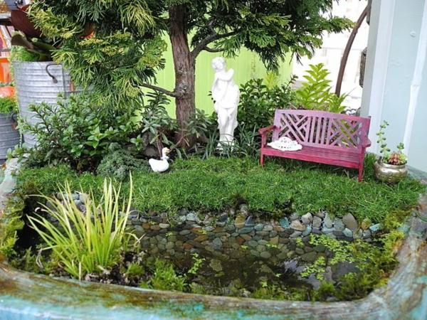 kleine gärten anlegen mini projekt teich sitzbank statue