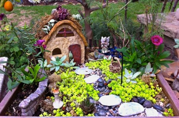 kleine gärten anlegen sukkulenten häuschen elf