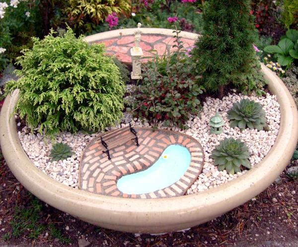 kleine gärten bank teil statue