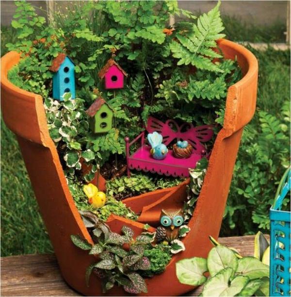 kleine gärten gestalten keramik blumentopf
