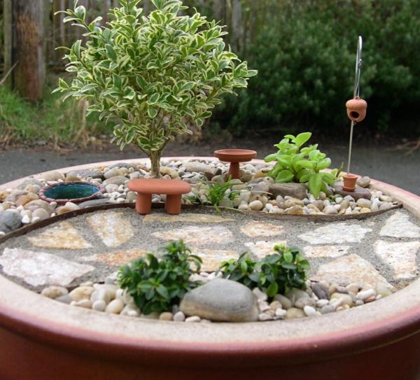 kleine gärten gestalten runde steine bonsai allee