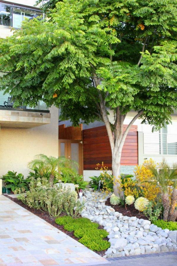 Kleinen Vorgarten Gestalten Ideen Kieselsteine Vorgartengestaltung